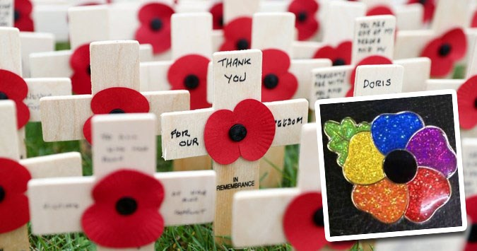 Twitter bust-up over rainbow poppies to mark this weekend's Remembrance Day